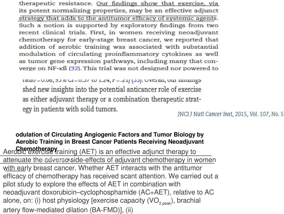 Whether AET interacts with the antitumor efficacy of chemotherapy has received scant attention.