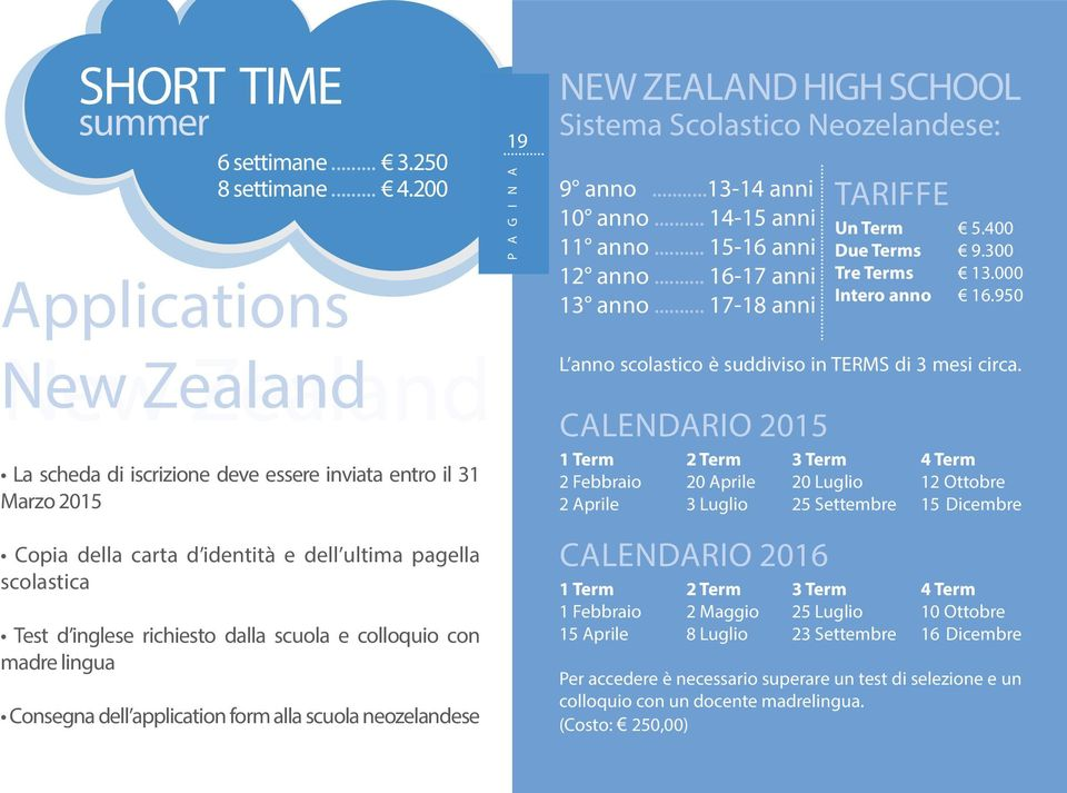colloquio con madre lingua consegna dell application form alla scuola neozelandese 19 new zealand high school sistema scolastico neozelandese: 9 anno...13-14 anni 10 anno... 14-15 anni 11 anno.