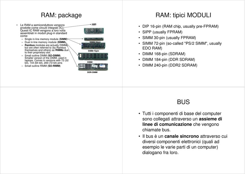 referred to (by Rambus themselves and others) as RIMMs due to their proprietary slot. Small outline DIMM (SO-DIMM). Smaller veron of the DIMM, used in laptops.
