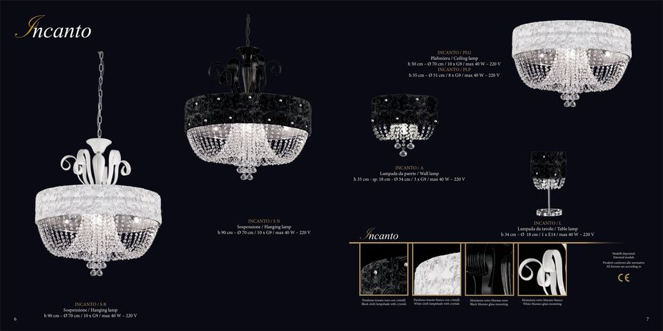 220 V Paralume tessuto nero con cristalli Black cloth lampshade with crystals Paralume tessuto bianco con cristalli White cloth lampshade with crystals