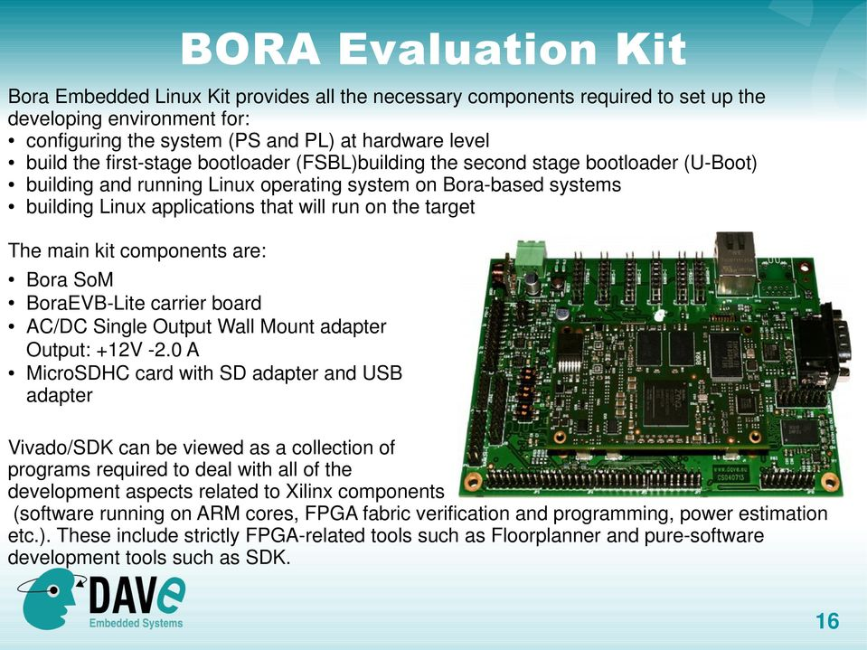The main kit components are: Bora SoM BoraEVB-Lite carrier board AC/DC Single Output Wall Mount adapter Output: +12V -2.