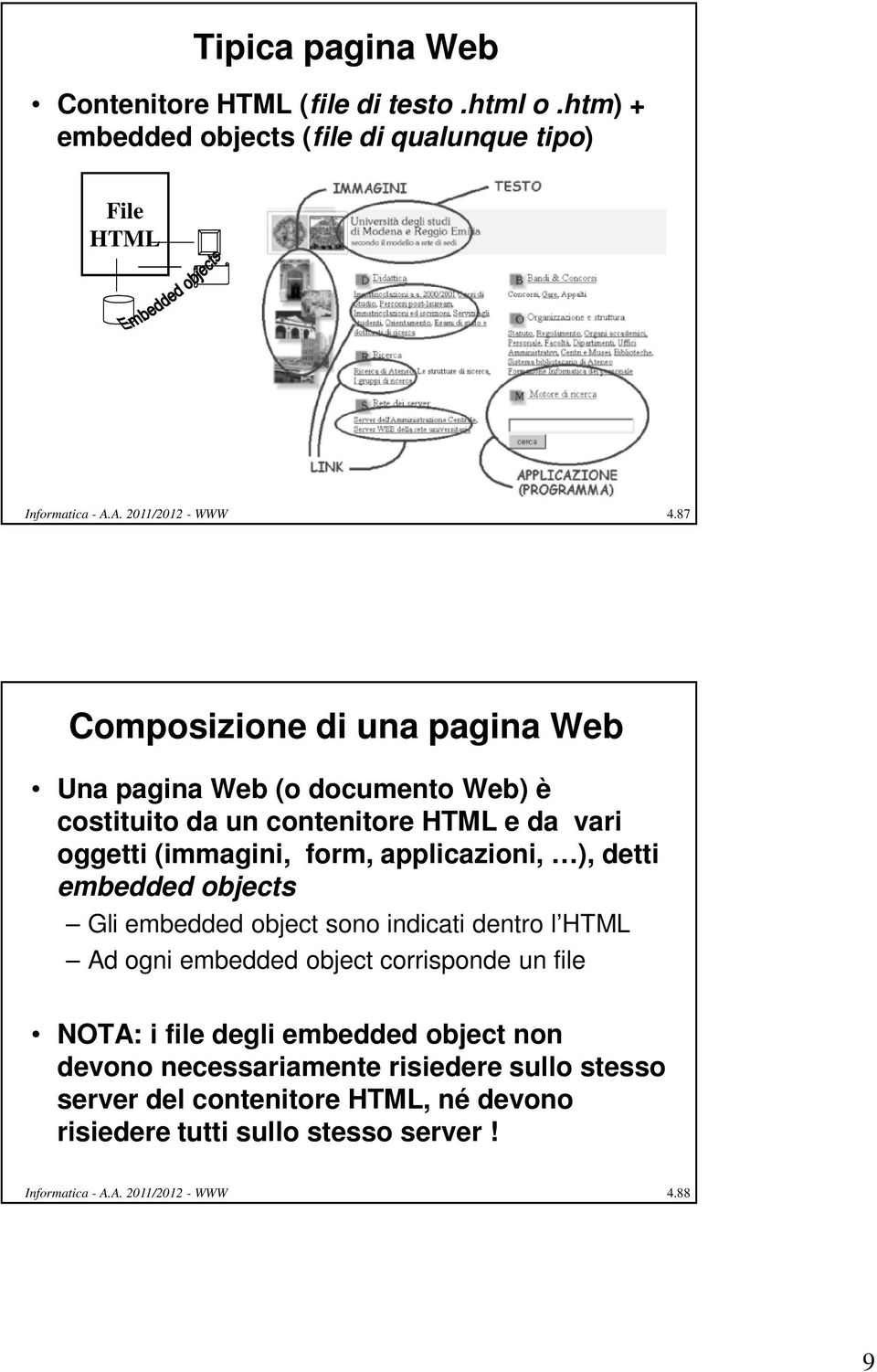 detti embedded objects Gli embedded object sono indicati dentro l HTML Ad ogni embedded object corrisponde un file NOTA: i file degli embedded object non