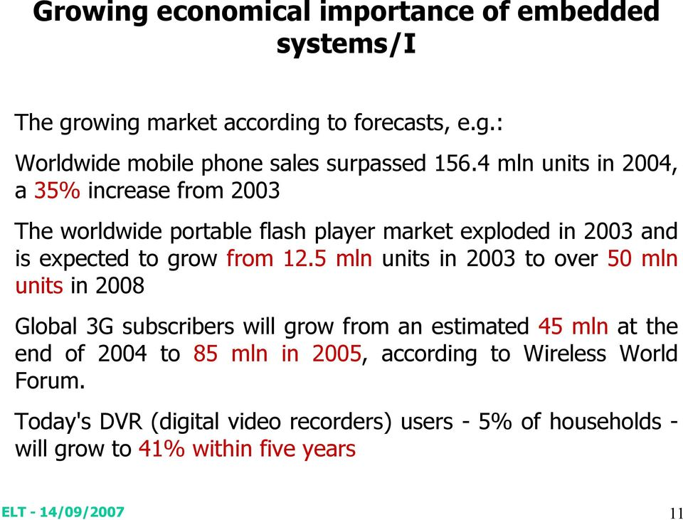 5 mln units in 2003 to over 50 mln units in 2008 Global 3G subscribers will grow from an estimated 45 mln at the end of 2004 to 85 mln in