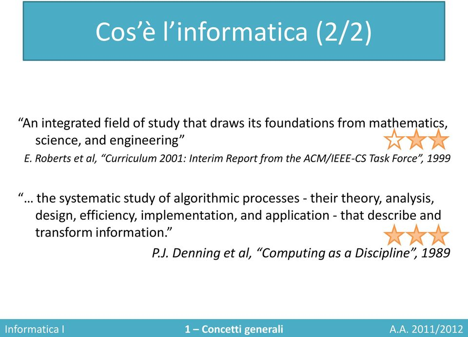Roberts et al, Curriculum 2001: Interim Report from the ACM/IEEE-CS Task Force, 1999 the systematic study