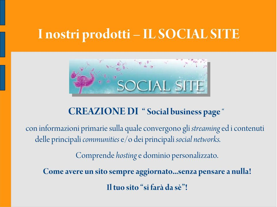 communities e/o dei principali social networks.