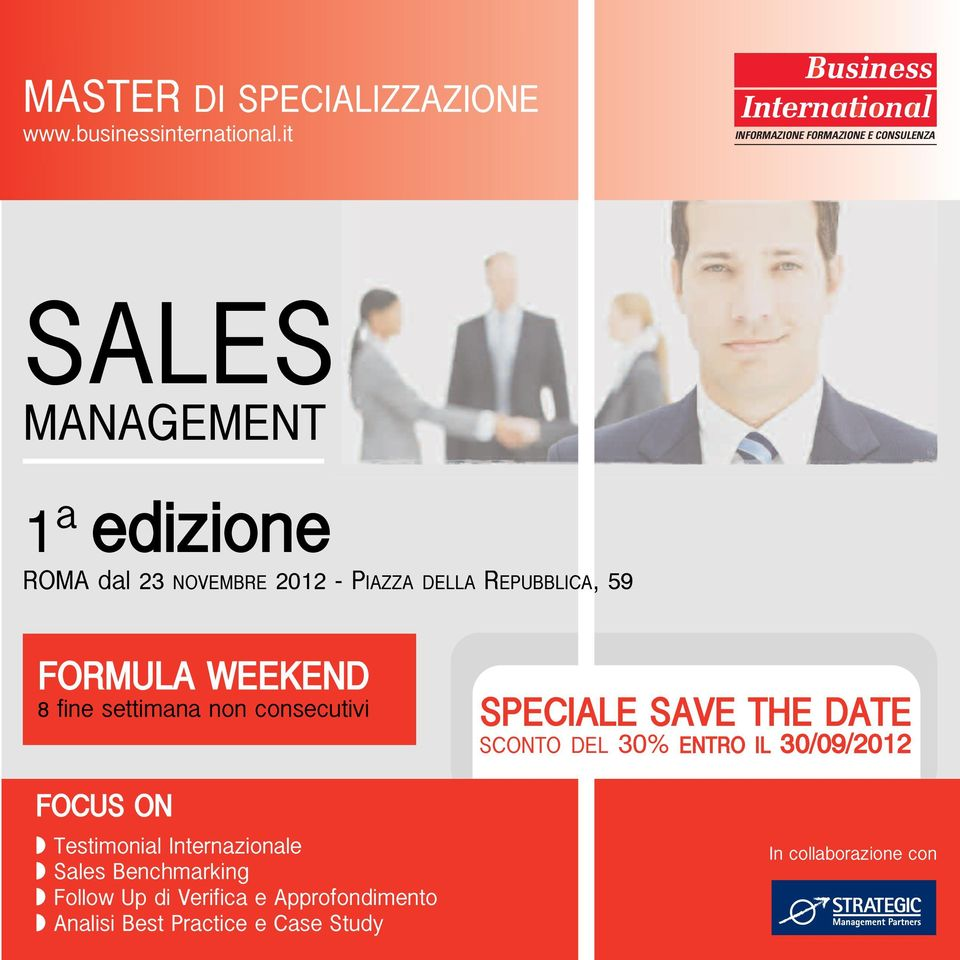 FOCUS ON Testimonial Internazionale Sales Benchmarking Follow Up di Verifica e Approfondimento