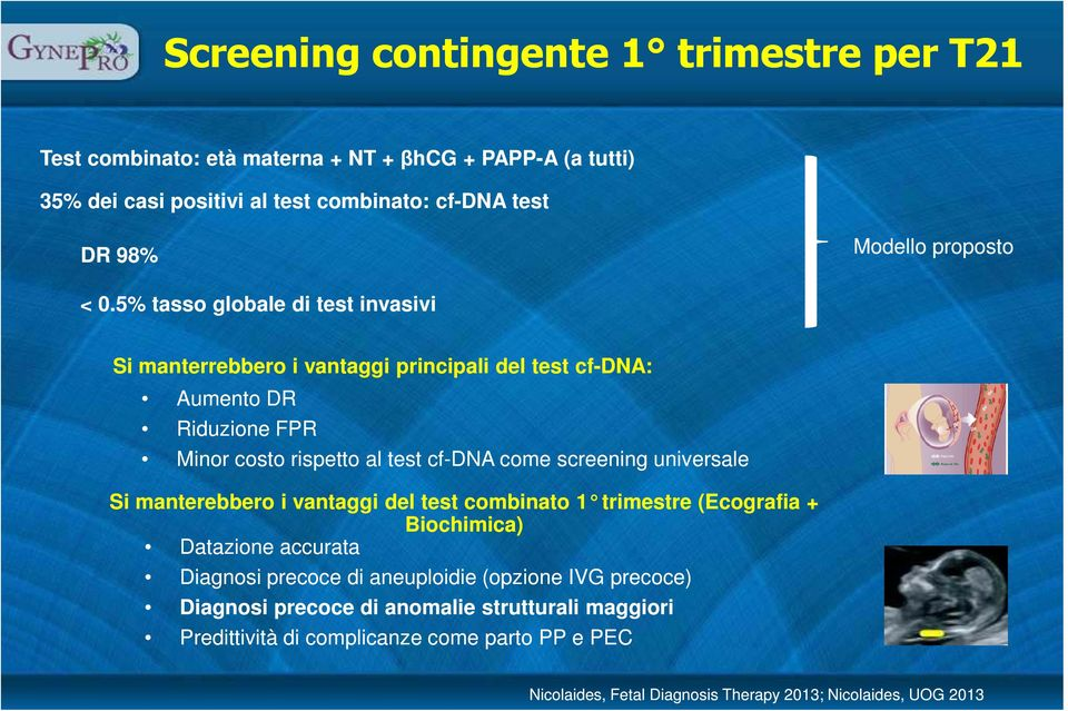 5% tasso globale di test invasivi Si manterrebbero i vantaggi principali del test cf-dna: Aumento DR Riduzione FPR Minor costo rispetto al test cf-dna come screening