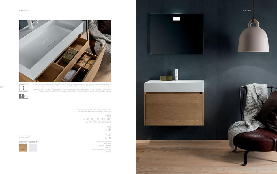 ZERO washbasin on base with one large drawer, grooved handle and inner drawer. Photo: washbasin cm x 45 x h 12, base cm x 45 x h 45 Solid Skin Oak finish with optional wooden drawers.