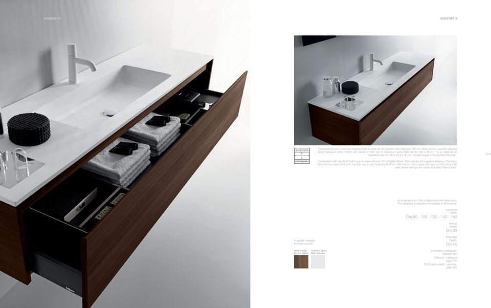 Composition with new FLAT built-in top on base with one 1 cm wide drawer. Also new are the Legrabox drawers in Exclusive Grey like the inside of the unit.