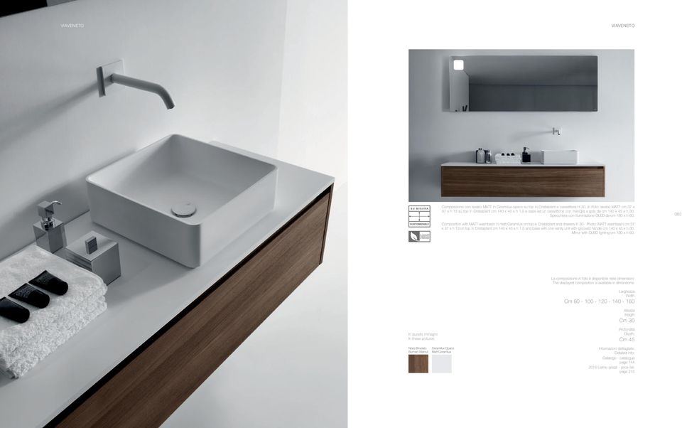 Composition with MATT washbasin in matt Ceramilux on top in Cristalplant and drawers H 30. Photo: MATT washbasin cm 37 x 37 x h 13 on top in Cristalplant cm 140 x 45 x h 1.