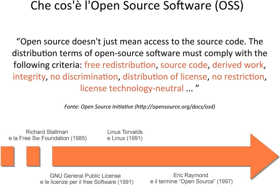 no discrimina2on, distribu2on of license, no restric2on, license technology- neutral... Fonte: Open Source Ini;a;ve (h?p://opensource.