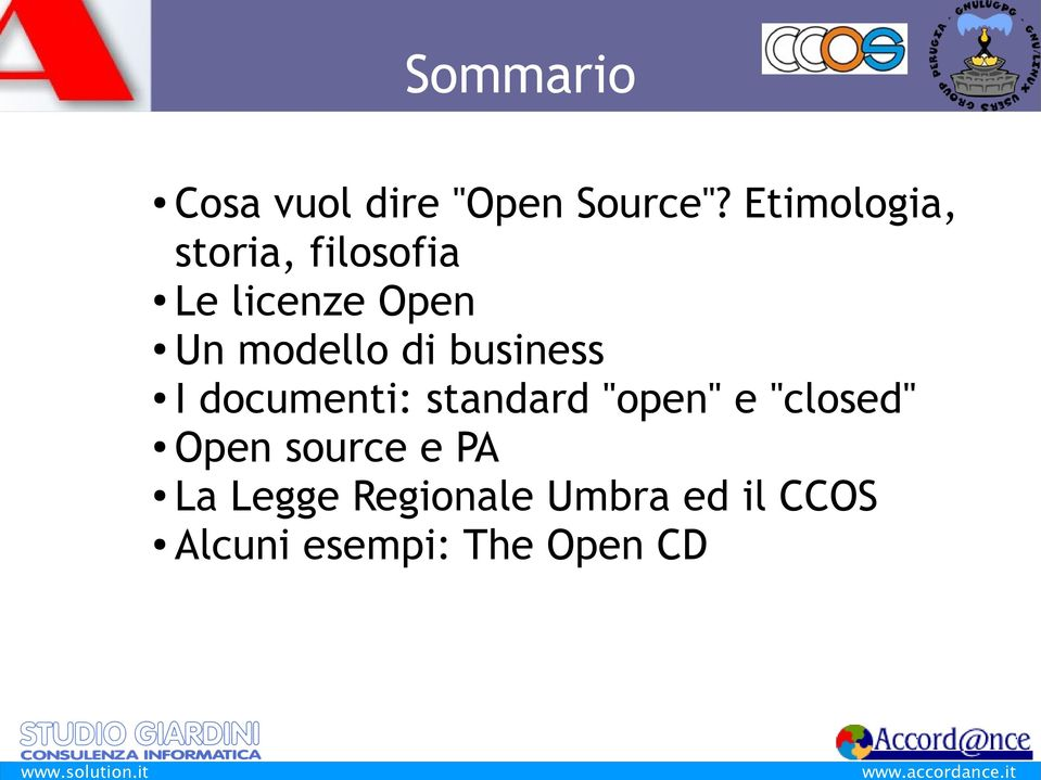 "di business I documenti: standard ""open"" e ""closed"" Open"