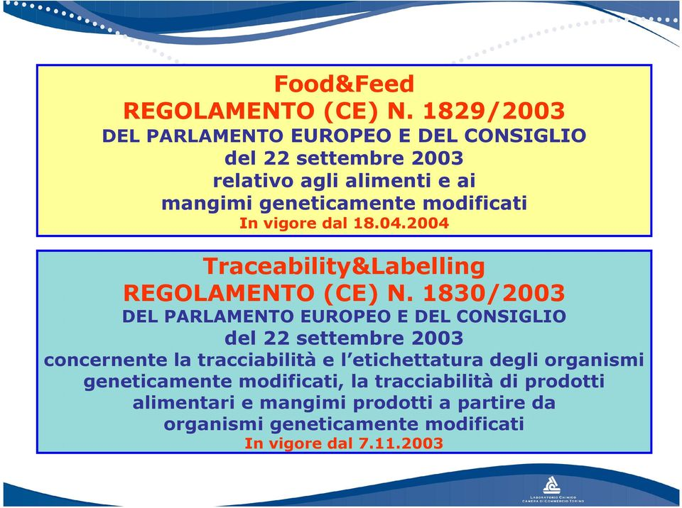modificati In vigore dal 18.04.2004 Traceability&Labelling REGOLAMENTO (CE) N.