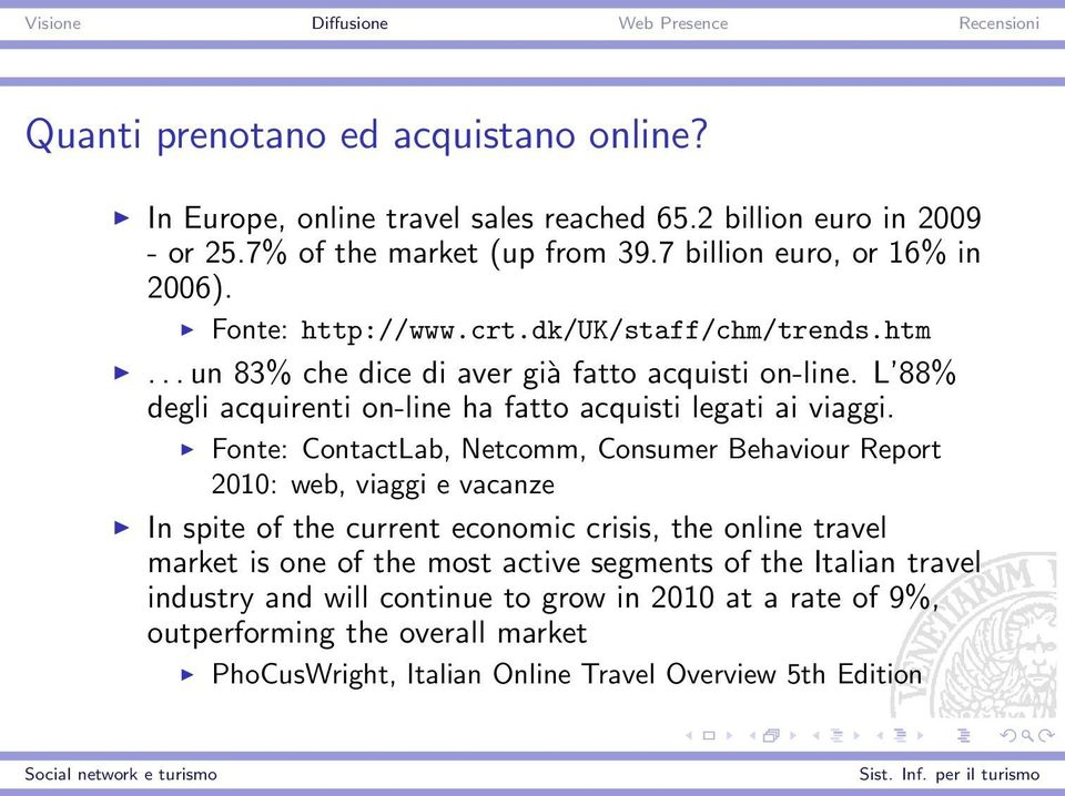 Fonte: ContactLab, Netcomm, Consumer Behaviour Report 2010: web, viaggi e vacanze In spite of the current economic crisis, the online travel market is one of the most active