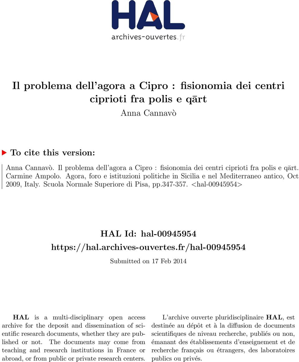Scuola Normale Superiore di Pisa, pp.347-357. <hal-00945954> HAL Id: hal-00945954 https://hal.archives-ouvertes.