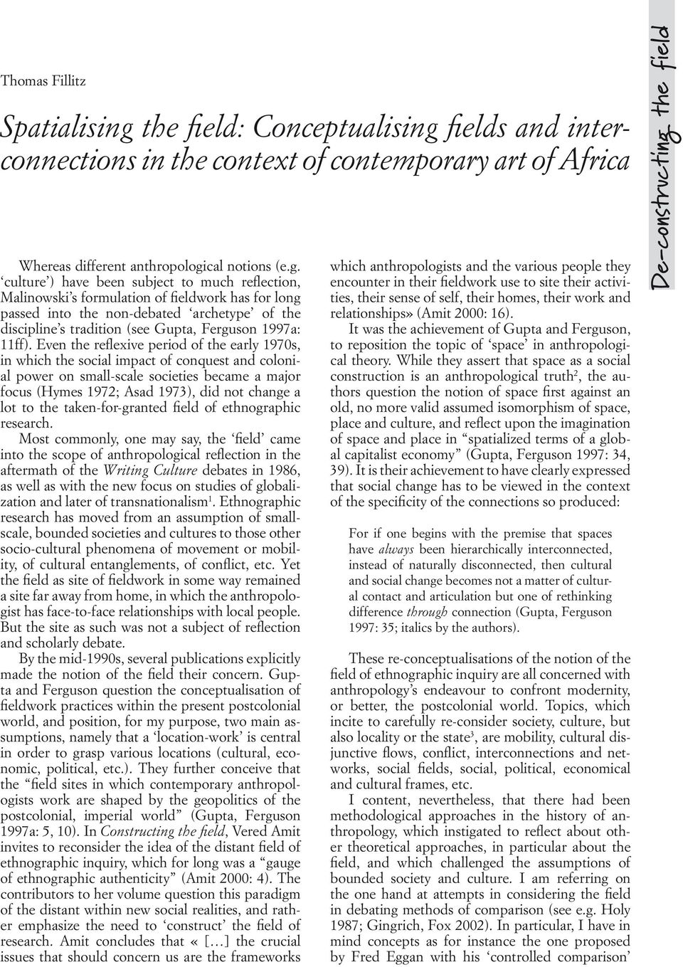 fields and interconnections in the context of contemporary art of Africa Whereas different anthropologi