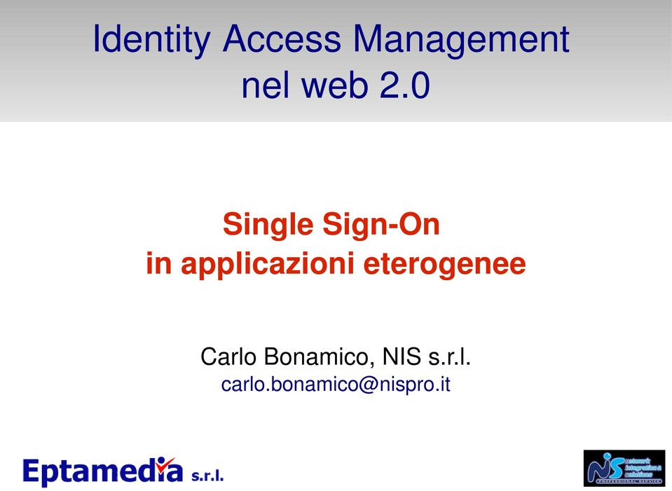 0 Single Sign On in applicazioni