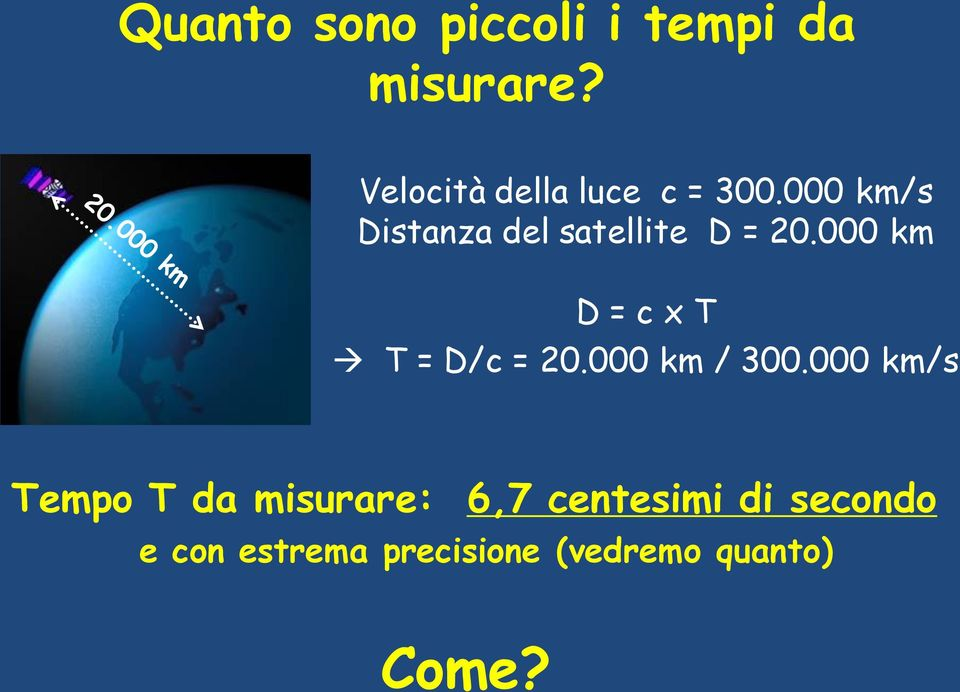 000 km/s Distanza del satellite D = 20.
