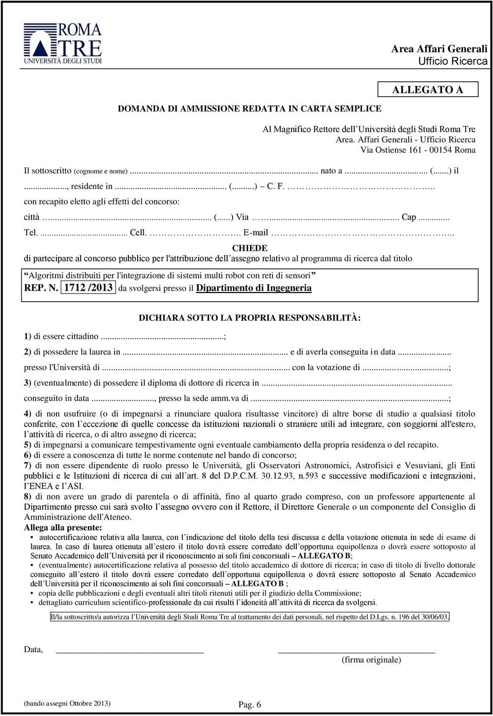 .. Cap... Tel.... Cell.. E-mail.