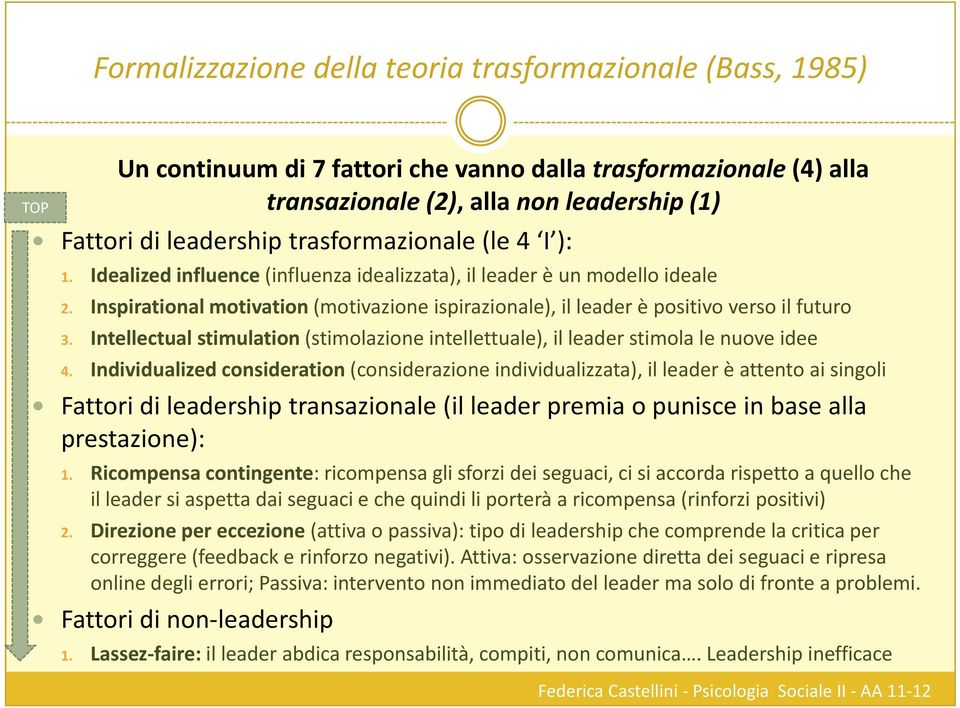Inspirational motivation (motivazione ispirazionale), il leader è positivo verso il futuro 3. Intellectual stimulation (stimolazione intellettuale), il leader stimola le nuove idee 4.