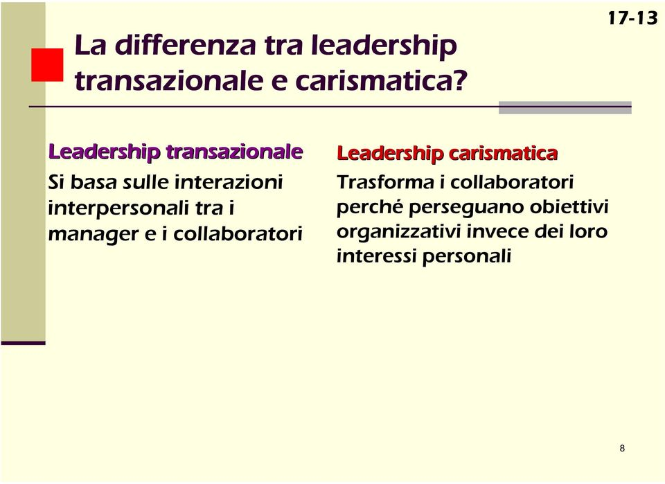 interpersonali tra i manager e i collaboratori Leadership carismatica