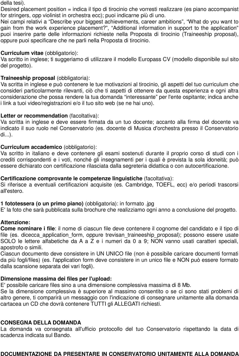 , Additional information in support to the application puoi inserire parte delle informazioni richieste nella Proposta di tirocinio (Traineeship proposal), oppure puoi specificare che ne parli nella