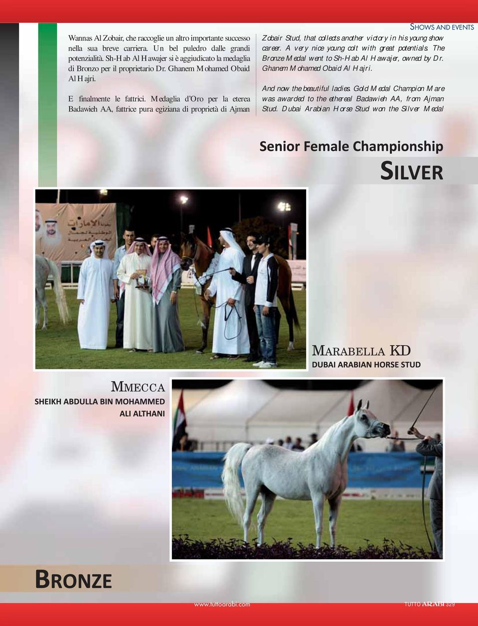 Medaglia d Oro per la eterea Badawieh AA, fattrice pura egiziana di proprietà di Ajman SHOWS AND EVENTS Zobair Stud, that collects another victory in his young show career.