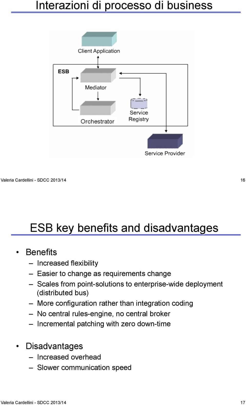 (distributed bus) More configuration rather than integration coding No central rules-engine, no central