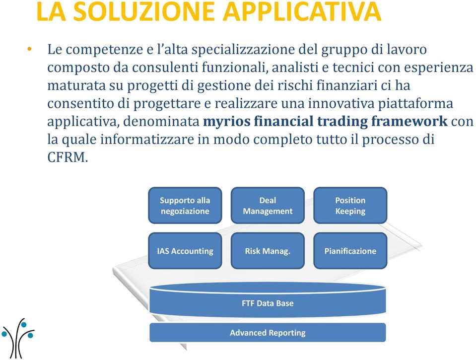 innovativa piattaforma applicativa, denominata myriosfinancialtrading frameworkcon la quale informatizzare in modo completo tutto il