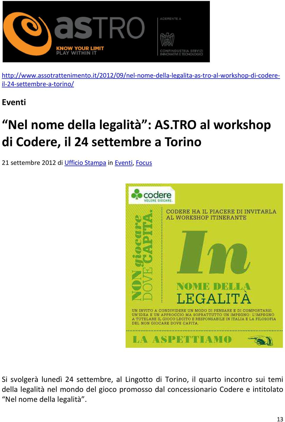 legalità : AS.