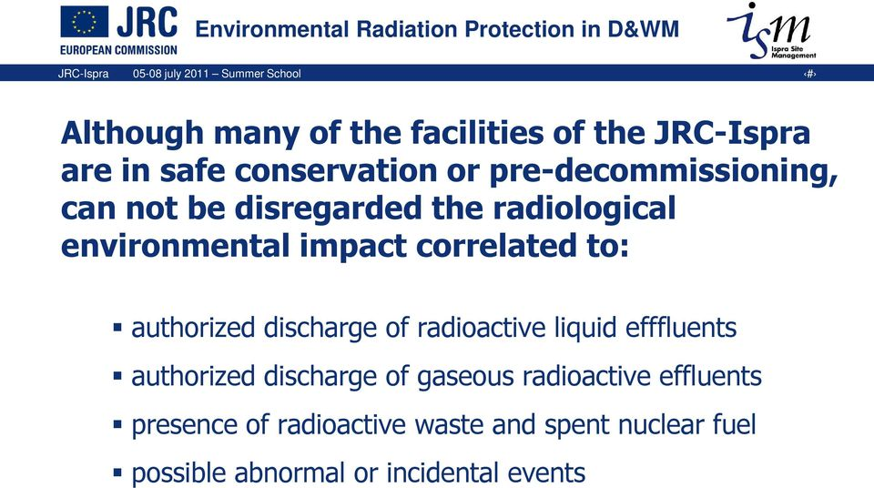 correlated to: authorized discharge of radioactive liquid efffluents authorized discharge of gaseous
