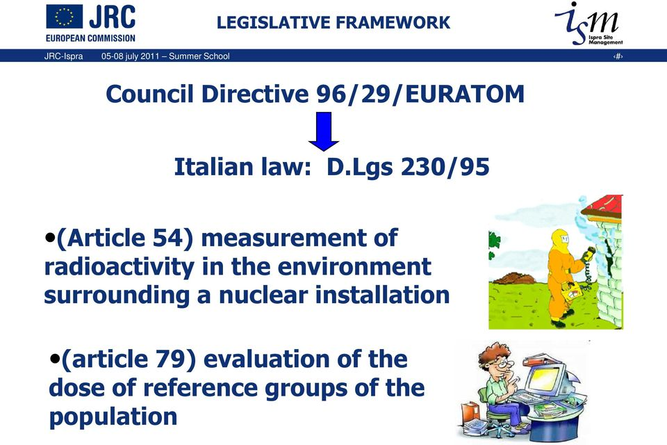 Lgs 230/95 (Article 54) measurement of radioactivity in the