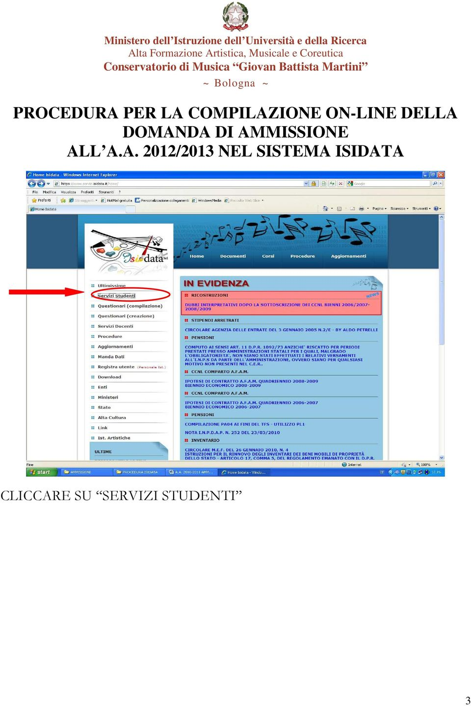 AMMISSIONE ALL A.A. 2012/2013 NEL