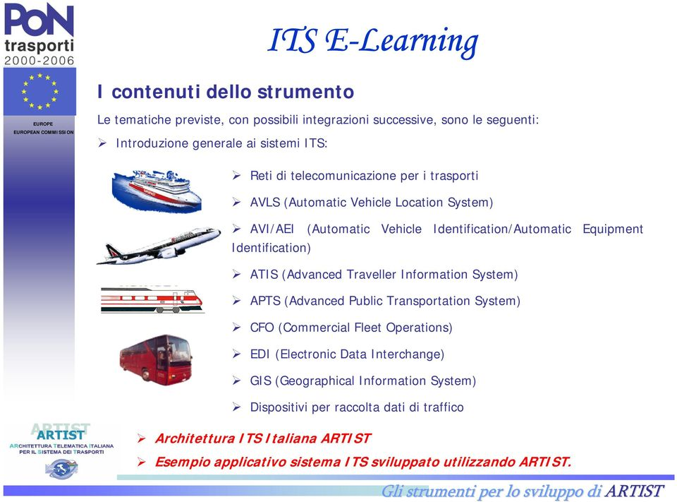 Identification) ATIS (Advanced Traveller Information System) APTS (Advanced Public Transportation System) CFO (Commercial Fleet Operations) EDI (Electronic Data