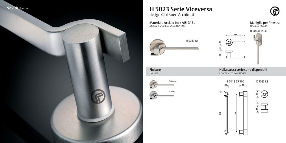 finestra Window Handle H 5023 FRS-41 H 5023 R8 Finiture Finishes Nella stessa