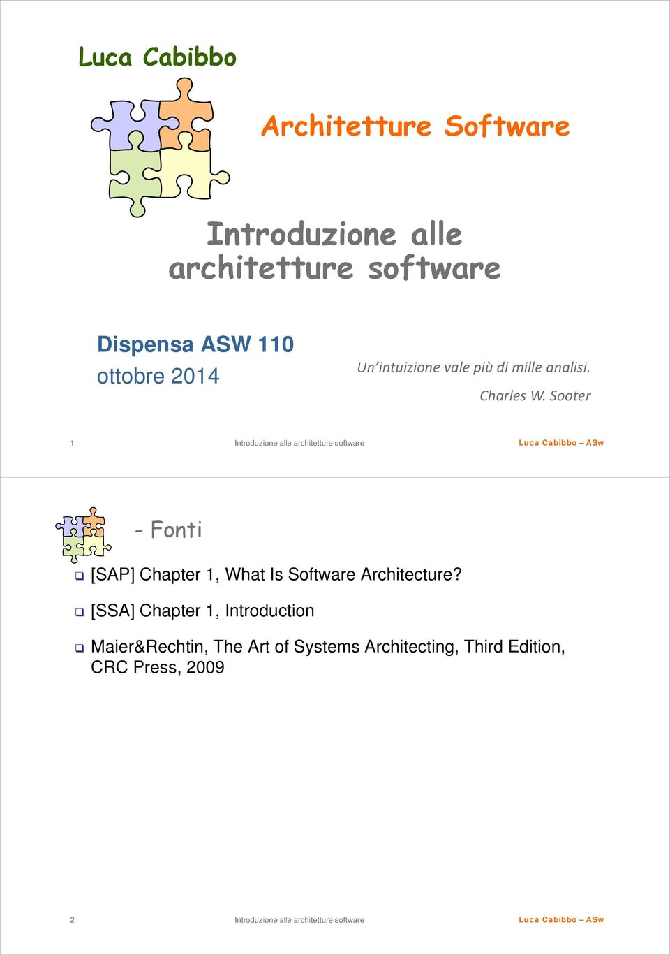 Sooter 1 -Fonti [SAP] Chapter 1, What Is Software Architecture?