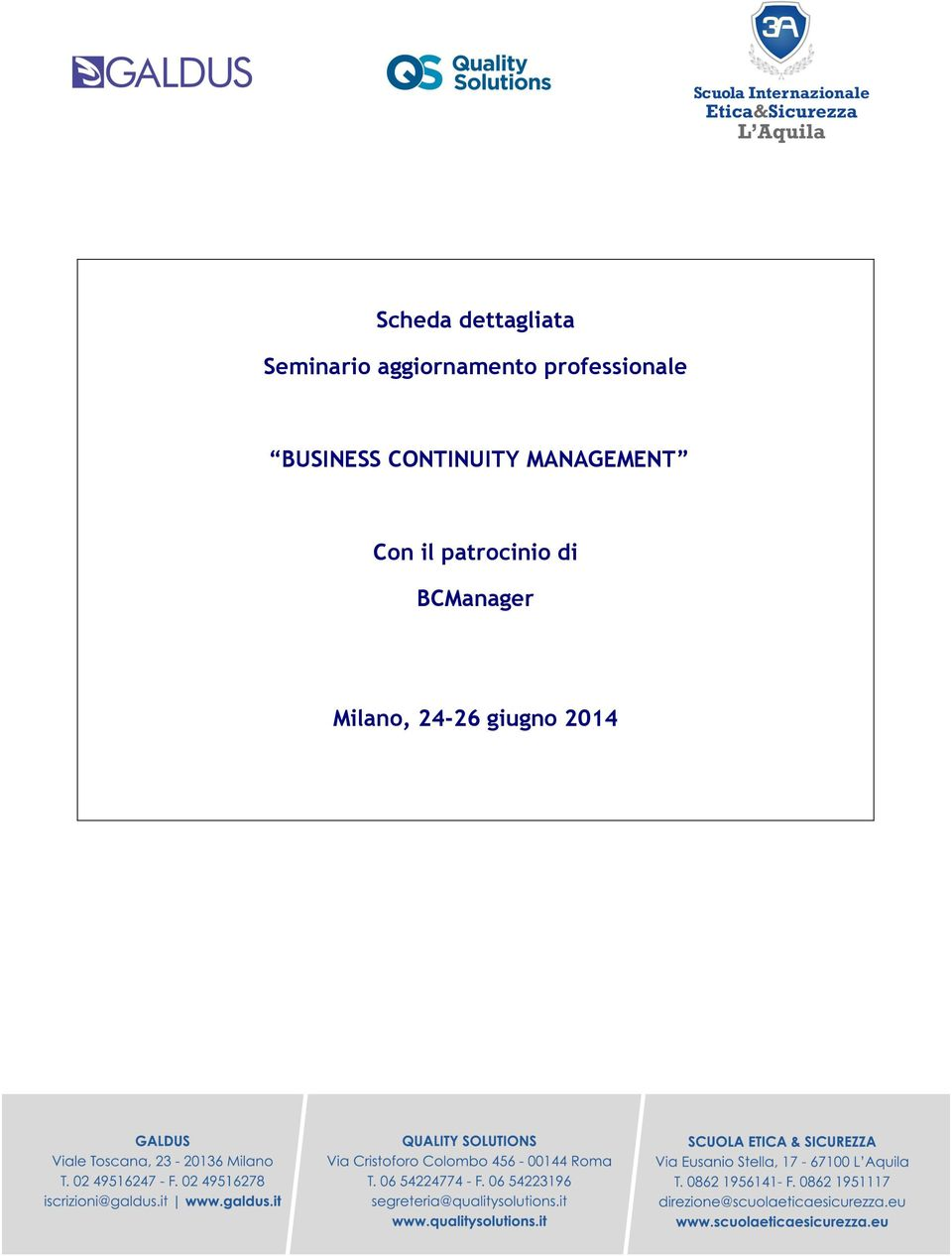 BUSINESS CONTINUITY MANAGEMENT Con