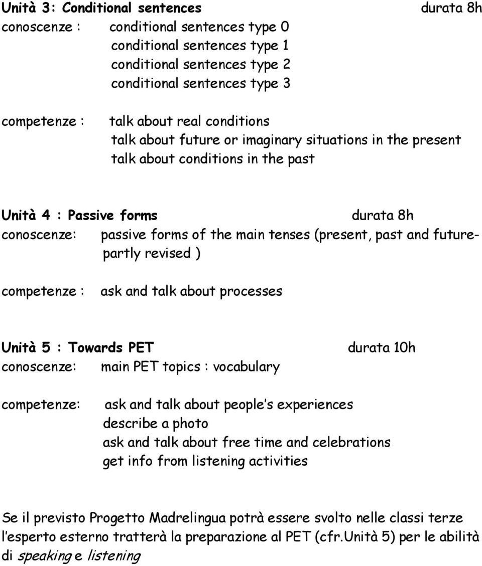 futurepartly revised ) competenze : ask and talk about processes Unità 5 : Towards PET conoscenze: main PET topics : vocabulary durata 10h competenze: ask and talk about people s experiences describe