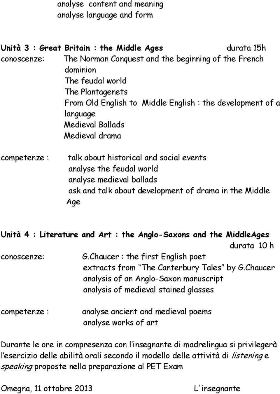 analyse medieval ballads ask and talk about development of drama in the Middle Age Unità 4 : Literature and Art : the Anglo-Saxons and the MiddleAges durata 10 h conoscenze: G.