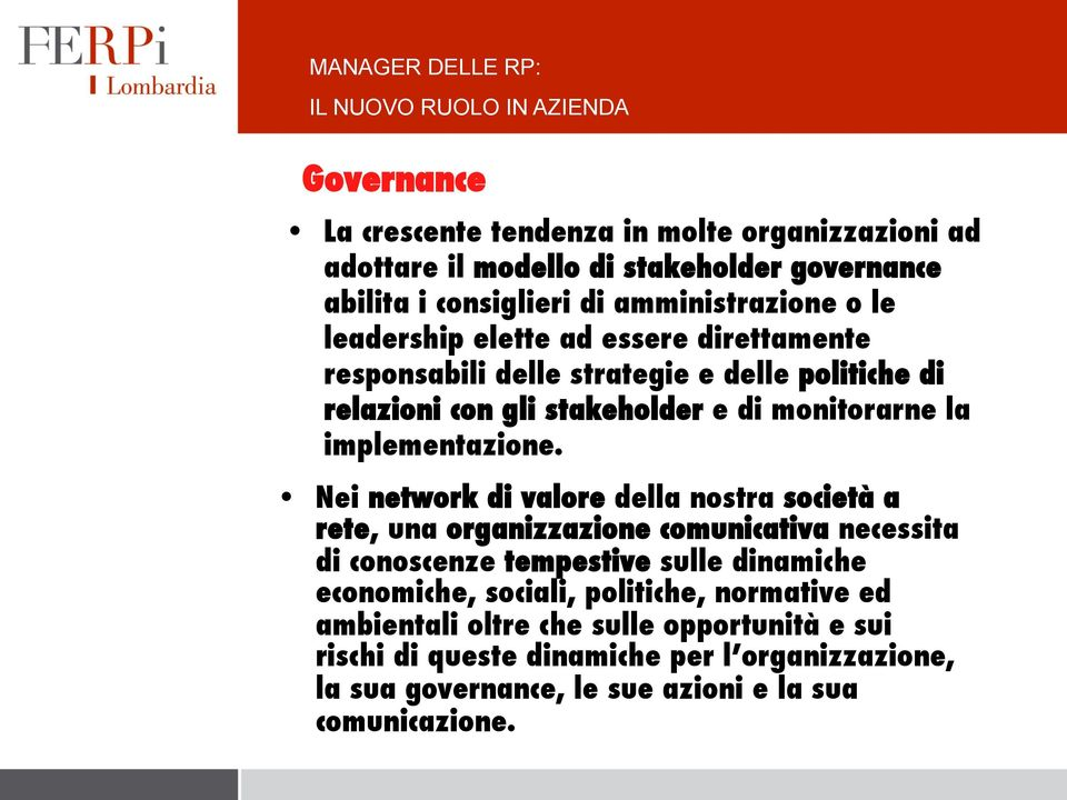 monitorarne la implementazione.