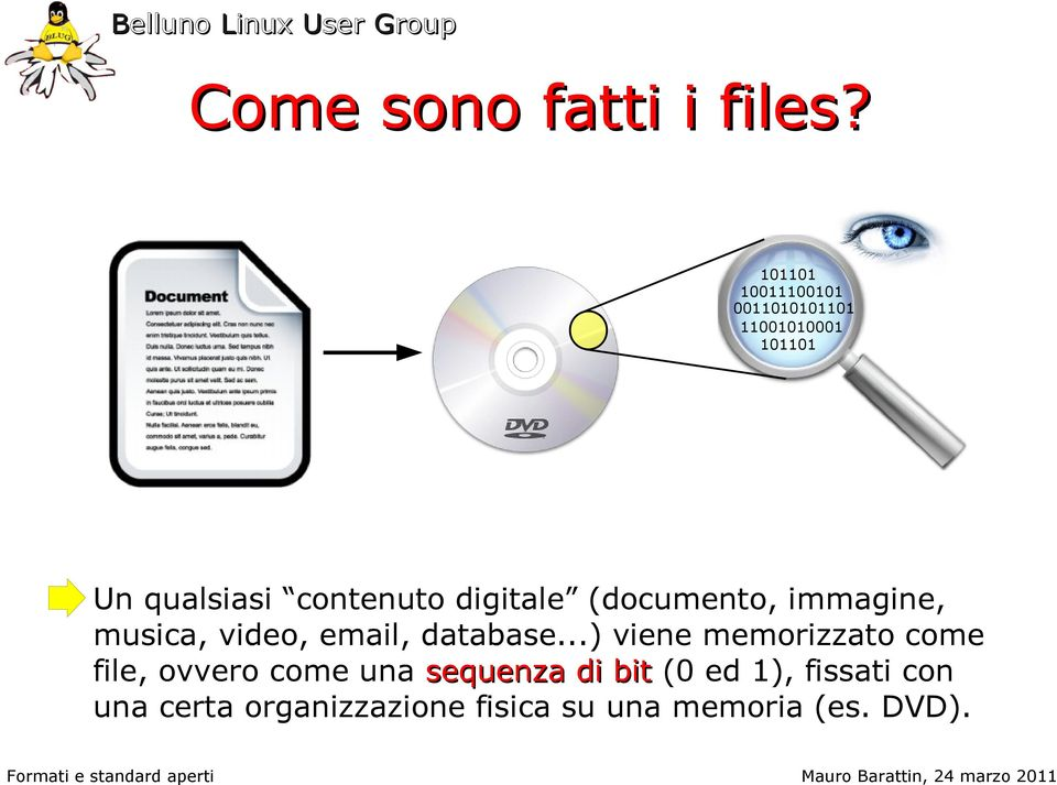 digitale (documento, immagine, musica, video, email, database.
