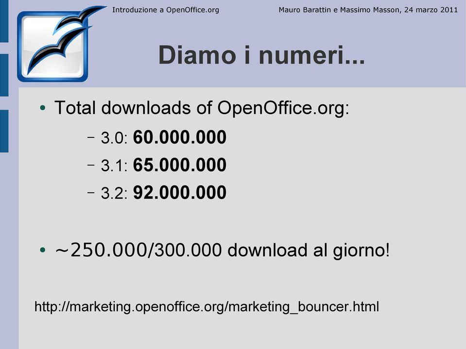.. Total downloads of OpenOffice.org: 3.0: 60.000.000 3.1: 65.000.000 3.2: 92.