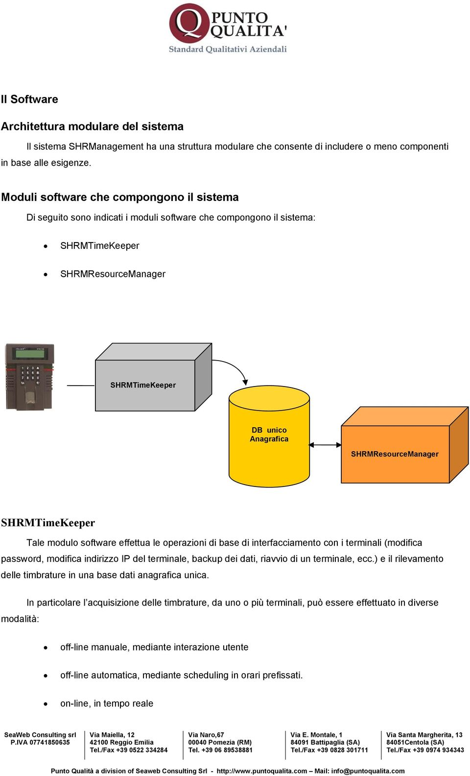 SHRMResourceManager SHRMTimeKeeper Tale modulo software effettua le operazioni di base di interfacciamento con i terminali (modifica password, modifica indirizzo IP del terminale, backup dei dati,