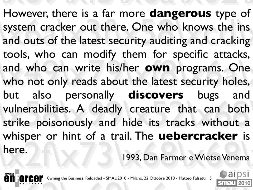 own programs. One who not only reads about the latest security holes, but also personally discovers bugs and vulnerabilities.