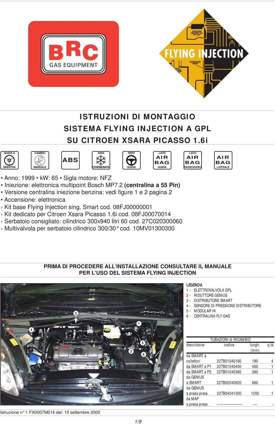 2 (centralina a 55 Pin) Versione centralina iniezione benzina: vedi figure e 2 pagina 2 ccensione: elettronica Kit base Flying Injection sing. Smart cod.