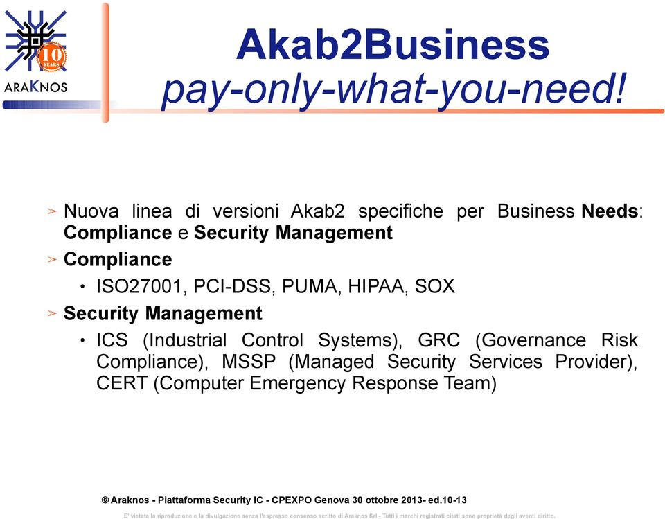 Management Compliance ISO27001, PCI-DSS, PUMA, HIPAA, SOX Security Management ICS