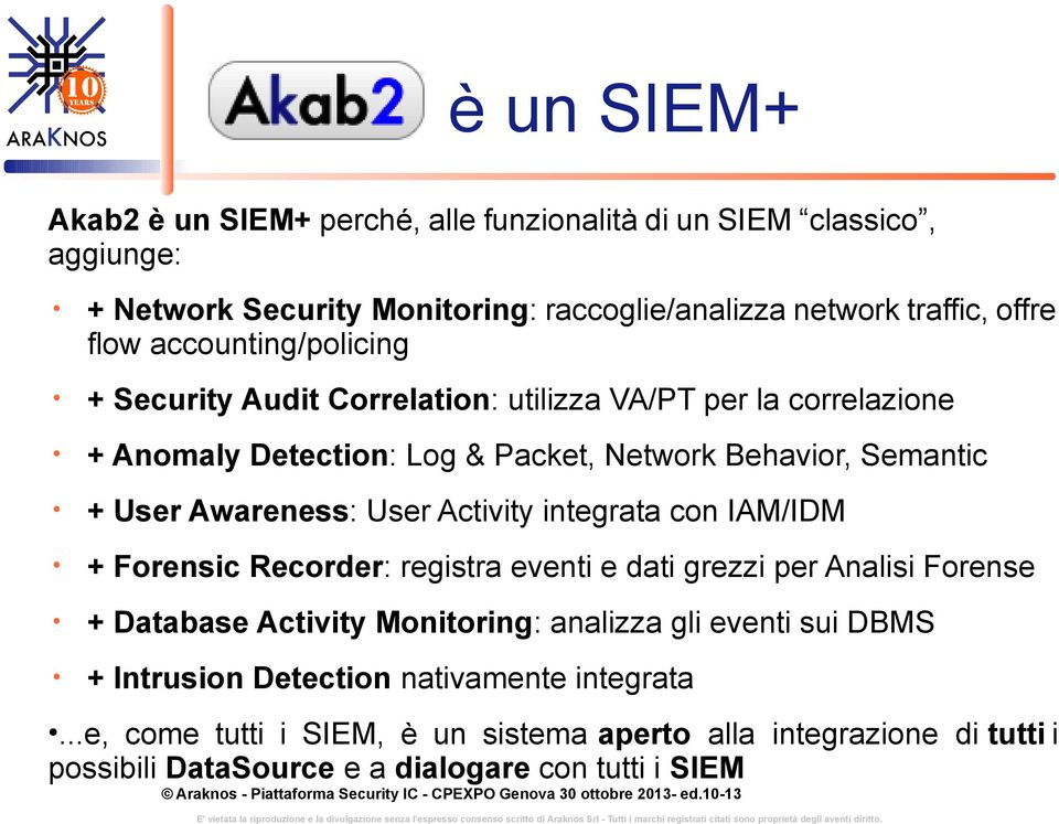 User Activity integrata con IAM/IDM + Forensic Recorder: registra eventi e dati grezzi per Analisi Forense + Database Activity Monitoring: analizza gli eventi sui