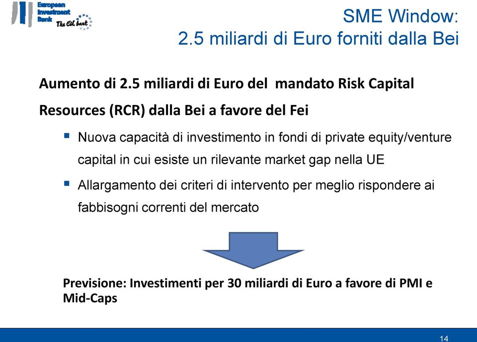 investimento in fondi di private equity/venture capital in cui esiste un rilevante market gap nella UE
