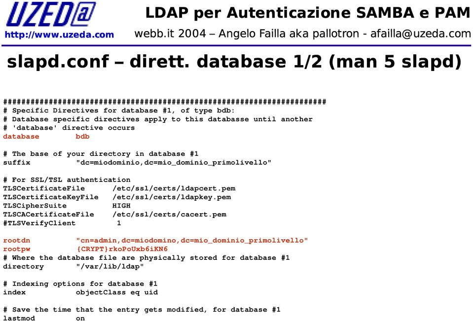"'database' directive occurs database bdb # The base of your directory in database #1 suffix ""dc=miodominio,dc=mio_dominio_primolivello"" # For SSL/TSL authentication TLSCertificateFile"