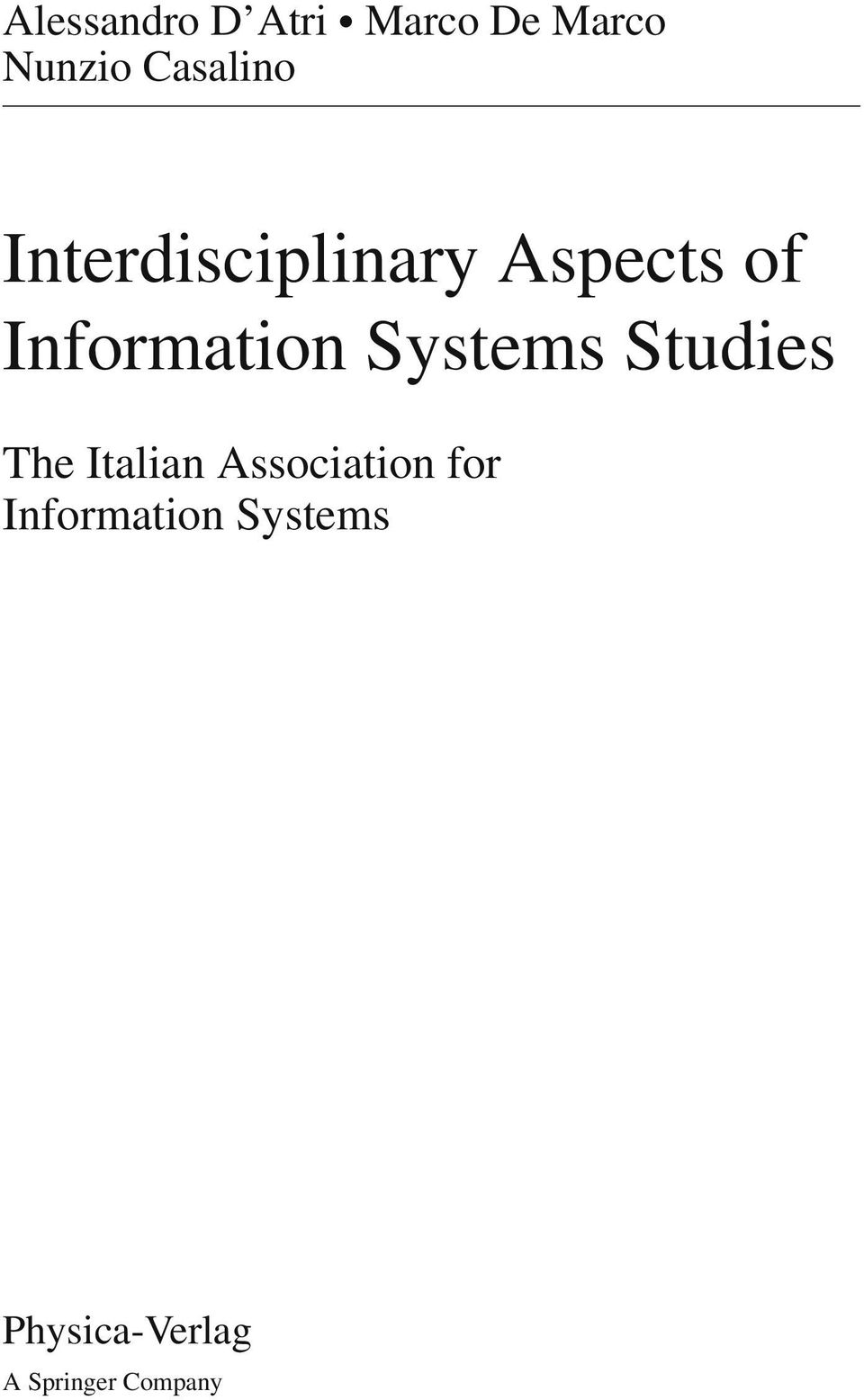 Information Systems Studies The Italian